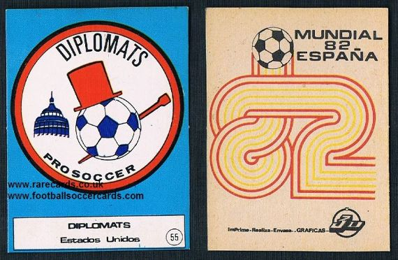 1982 NASL Washington DC Diplomats emblem card from Spain
